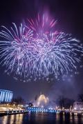 Spectacular fireworks at night Stock Photos