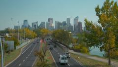 Calgary downtown with traffic in foreground Stock Footage