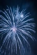 big blue fireworks during the celebrations at night - stock photo