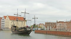 Gdansk, Poland. Old galleon ship on the Motlawa river in Gdansk Stock Footage