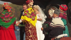 Ukrainian national costumes, wedding ritual Stock Footage