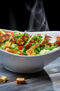 roast chicken and fresh vegetables as a healthy meal - stock photo