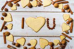"""i love you"" sentence arranged with cookies and nuts no. 9 - stock photo"