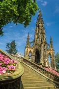 view of scott monument in edinburgh - stock photo