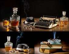 Collage of retro-styled old typewriter, cigar, hat and whisky Stock Photos