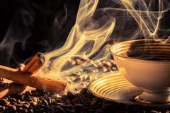 Cinnamon flavor of brewed coffee Stock Photos