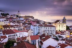 Lisbon, portugal skyline at alfama Stock Photos