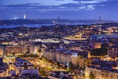 lisbon, portugal skyline at night - stock photo