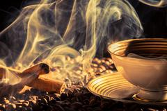 Stock Photo of cinnamon scent of roasted coffee
