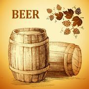 beer keg  for label, package.vintage barrel . hop - stock illustration