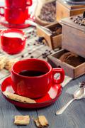 closeup of well-brewed cup of coffee - stock photo
