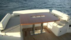 Rear living area on luxury yacht  Stock Footage