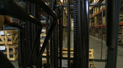 Industrial forklift up point of view Stock Footage