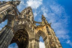 scott monument in sunny edinburgh - stock photo