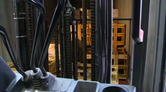 Industrial forklift point of view Stock Footage