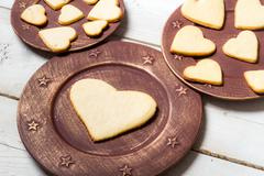 heart-shaped cookies arranged on a plate no. 6 - stock photo