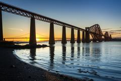 Sunset over the forth road bridge Stock Photos