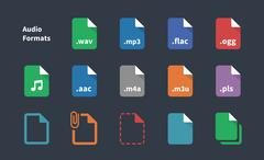 Set of Audio File Extension icons. Stock Illustration