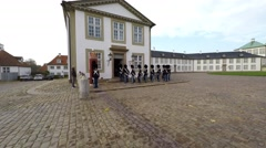 The Royal Life Guards in front of Fredensborg Palace Stock Footage