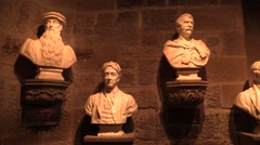 Busts of historical Scots at the Wallace Wall museum Stock Footage