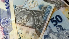 Close up view to naira currency of Nigeria. Rotation 360 Stock Footage