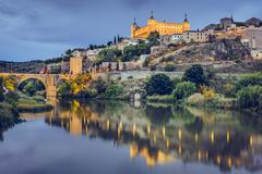 toledo, spain on the tagus river - stock photo