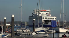 Wightlink ferry leaves lymington harbour for the isle of wight, england Stock Footage