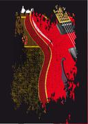 Guitar and amplifier grunge Stock Illustration