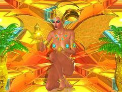 Fantasy Art, Golden Winged Egyptian Goddess. - stock illustration
