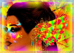 Colorful abstract, makeup, paint and feathers on a woman's face. - stock illustration