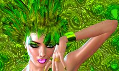 Stock Illustration of Green Feathers, Vogue Hairstyle and Fashion Look