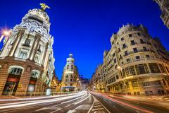 madrid, spain gran via cityscape - stock photo