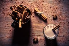 Cocoa with milk and cinnamon flavored Stock Photos