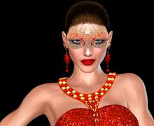 Woman in Red Mask, Masquerade Party, Isolated on Black. - stock illustration