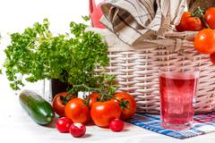 Full basket of fresh vegetables Stock Photos