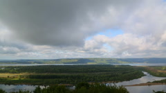Landscape with Zhiguli mountains and Volga river - stock footage