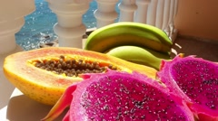 Dish of tropical fruit Stock Footage