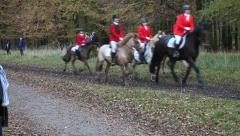"Horses and Riders at the Annual Drag Hunt ""Hubertusjagten"" Stock Footage"