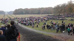 """People Gathering for the Annual Drag Hunt """"Hubertusjagten"""" - stock footage"""