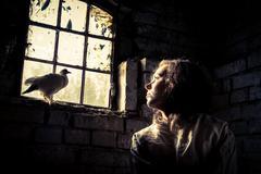 dream of freedom in a prison psychiatric - stock photo