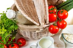 breakfast basket full of healthy and fresh produce - stock photo