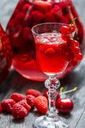 liqueur made of wild berries - stock photo