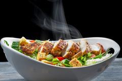 caesar salad made of fresh ingredients - stock photo