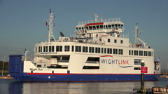 Wightlink ferry enters lymington harbour from isle of wight, england Stock Footage