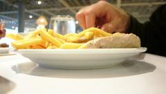 Men eating French Fries Stock Footage