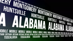 Alabama State and Major Cities Scrolling Banner Stock Footage