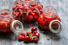 prepared of wild starwberry compote - stock photo