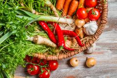 Closeup of basket with fresh vegetables Stock Photos