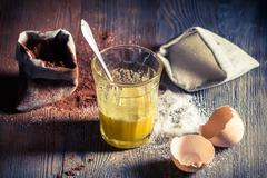 quick dessert composed of egg and sugar - stock photo