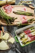 preparations for the casserole with asparagus and cheese - stock photo